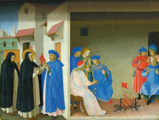 Fra Angelico, Le Couronnement de la Vierge, Vers 1430 - 1432, 209 cm x 206 cm, à la prédelle: La dispute de saint Dominique et le miracle du livre, Louvre, Paris