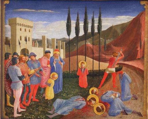 Fra Angelico, Le martyre des saints Cosme et Damien, entre 1338 et 1343, Tempera sur bois, 46 cm x 37 cm, Louvre, Paris