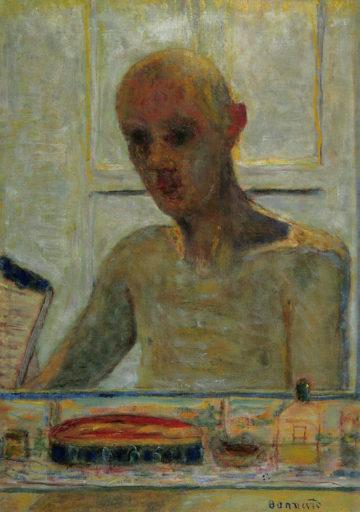 Bonnard Pierre, Portrait de l'artiste dans la glace du cabinet de toilette, 1939-1945, huile sur toile, 73 x 51 cm, Centre national d'art moderne, Paris