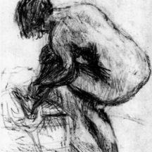 Bonnard Pierre, étude pour le Grand nu bleu, vers 1924, crayon sur papier, 28,5 x 22 cm, Galerie Bernheim-Jeune, Paris