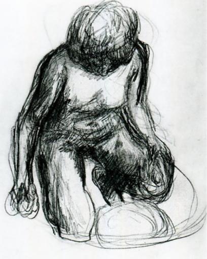 Pierre Bonnard, Nu au tub, 1912, Crayon sur papier, 22,5 x 17,5 cm, Collection particulière