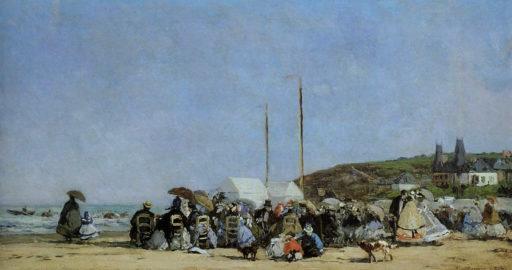 Boudin Eugène, La plage de Trouville, 1864, huile sur bois, 26 x 48 cm, Paris, musée d'Orsay