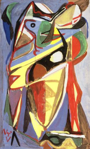 Bram van Velde, sans titre, Montrouge, 1939-1940, gouache sur papier, 126 x 76 cm, Musée national d'art moderne, Paris