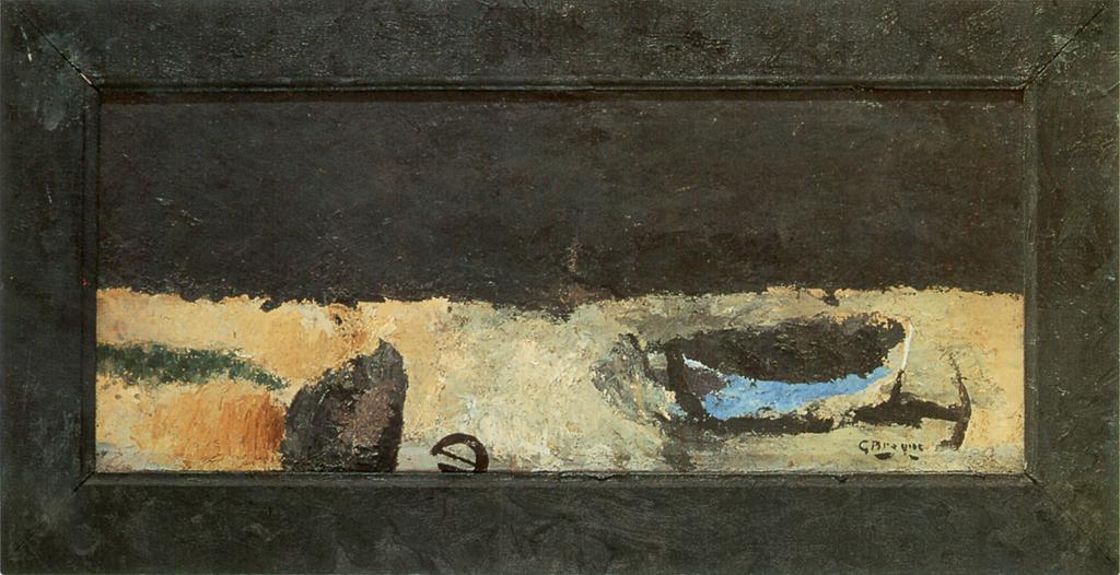 Braque George, Barque sur la grève, 1956, huile sur toile, cadre peint par l'artiste, 33 x 77 cm, Collection Florence Malraux
