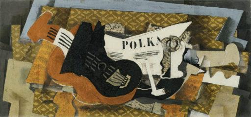 Braque Georges, Guitare et pipe, 1920-1921, Huile et sable sur toile, 43 x 92,5 cm, Philadelphia Museum of Art