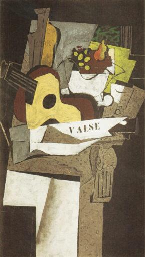 Braque George, Nature morte à la guitare I, 1920-1921, huile sur toile, 131 x 74 cm,Národni Galerie, Prague