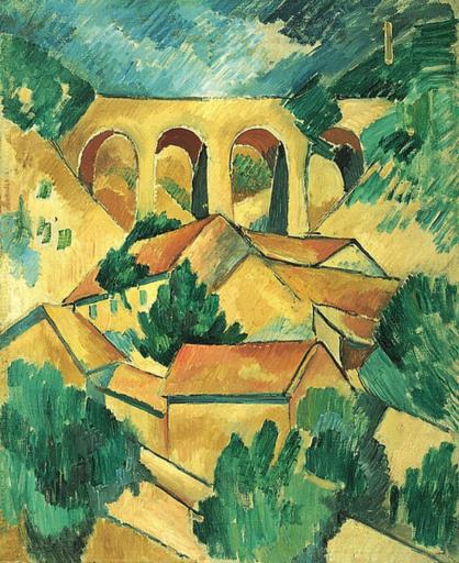 Georges Braque, Le Viaduc à L'Estaque, 1908, huile sur toile, 72,5 x 59 cm, musée national d'art moderne, Paris