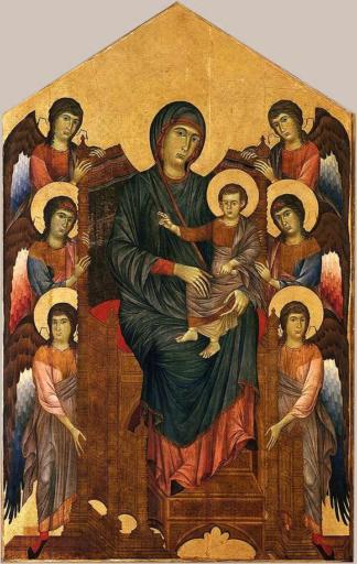 Cenni di Pepo dit Cimabue,La Vierge et l'Enfant en majesté entourés de six anges, 1280, Tempera et or sur bois, 427 × 280 cm, Louvre, Paris