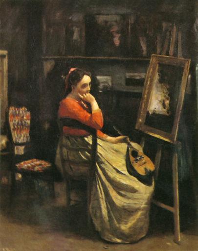 Corot Camille, L'Atelier. Jeune femme au corsage rouge, 1865-1866, huile sur toile, 56 cm x 46 cm, Musée d'Orsay, Paris