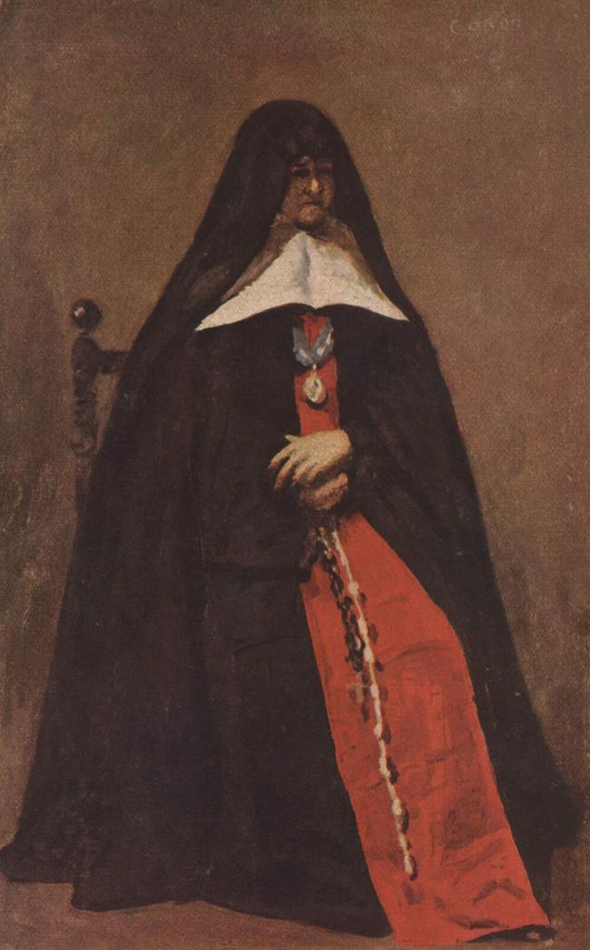 Corot Jean Baptiste Camille, Mère Marie-Héloïse des Dix Vertus, 1852, huile sur , 36 × 23 cm, Musée du Louvre, Paris