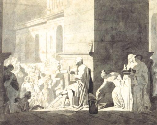 David Louis, Homère récitant ses vers aux Grecs, Lavis gris, 22,7 x 34,5 cm, Louvre, Paris