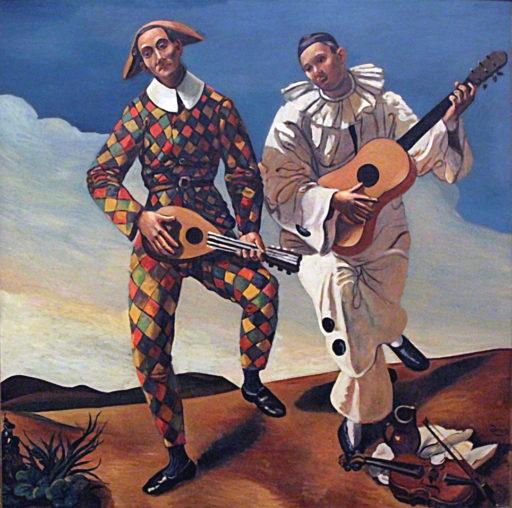Derain André, Arlequin et Pierrot, 1924, huile sur toile, 175 x 175 cm, musée de l'Orangerie