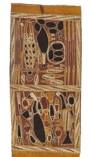 Australie Terre d'Amhem, écorce peinte, 79,5 x 36 cm, Musée national des arts africains et océaniens, Paris