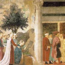Piero della Francesca, L'Adoration du Bois sacré et La Rencontre de Salomon et de la reine de Saba, 1452-1458, Fresque, 336 x 747 cm, église San Francesco, Arezzo