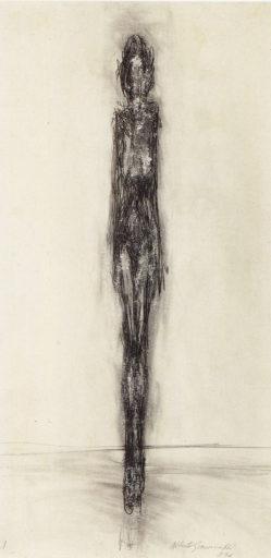 Giacometti Alberto, Femme debout, 1946, Crayon sur papier, 53,5 x 28,5 cm, Collection particulière, Genève
