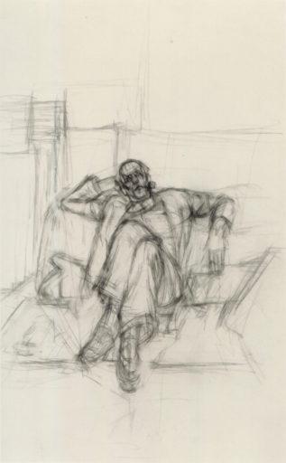 Giacometti Alberto, Portrait de Pierre Loeb, 1946, Crayon sur papier, 49,5 x 31 cm, Collection Florence Loeb