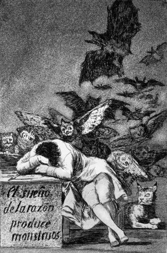 Goya, Francisco de Goya, Le sommeil de la raison génère des monstres, 1797-1799, Eau-forte, Capricho n° 43, Museo del Prado