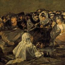 Francisco de Goya, Le Sabbat des sorcières, le Grand Bouc, 1819–1823, huile sur plâtre transformée en huile sur toile, 140 × 438 cm, Musée du Prado