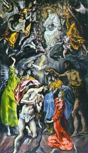 le Greco, Le baptême du Christ, 1596-1600, huile sur toile, 350 × 144 cm, Musée du Prado, Madrid