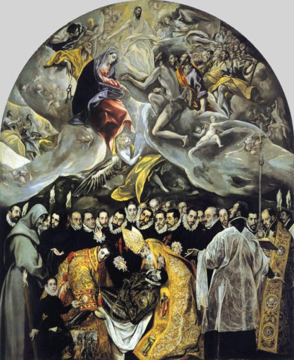 le Greco, L'Enterrement du comte d'Orgaz, Huile sur toile, 460 x 360 cm, 1586-1588, Église Santo Tomé, Tolède, Espagne