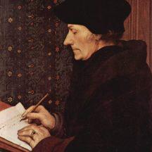 Hans Holbein le jeune, Érasme de Rotterdam écrivant, 1523, huile sur bois, 43 × 33 cm, musée du Louvre