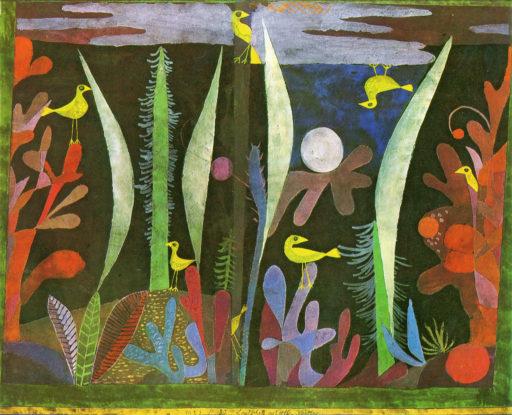 Klee Paul, Paysage aux oiseaux jaunes, 1923, Aquarelle sur fond noir, 35,5 x 44 cm, Collection particulière, Suisse
