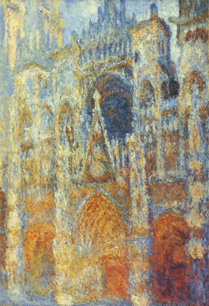 Monet Claude, La cathédrale de Rouen, le portail, soleil matinal, harmonie bleue, 1894, huile sur toile, 91 x 63 cm, Musée d'Orsay, Paris