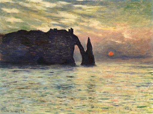 Monet Claude, Etretat, soleil couchant, 1882-1883, 60,5 x 81,8 cm, Raleigh, North Carolina Museum of Art