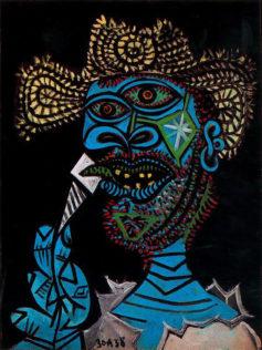 Picasso Pablo, Homme au chapeau de paille et cornet de glace, 1938, huile sur toile, 61 cm x 46 cm, Musée Picasso, Paris