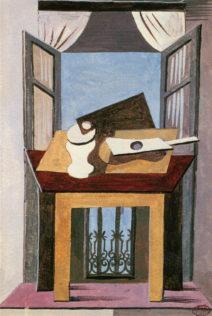 Picasso Pablo, Nature morte sur une table devant une fenêtre ouverte, 1919, huile sur toile, 10,5 x 60 cm, Musée Picasso, Paris