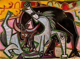 Picasso Pablo, Combat de taureaux, 1934, huile sur toile, 95,7 x 130,5 cm, collection particulière
