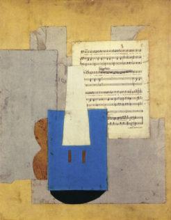 Picasso, Violon et feuille de musique, 1912, Papiers et partition musicale collés sur carton, gouache, 78 x 65 cm, Musée Picasso, Paris