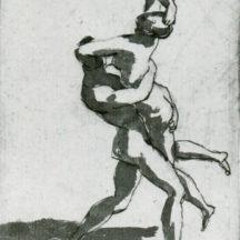 Poussin Nicolas, Un homme enlevant une femme, Plume et lavis brun, 11 x 8 cm, Windsor castle, Royal library