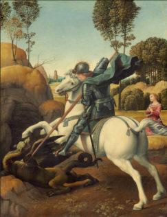 Raphael, Saint George et le Dragon, 1506, huile sur toile, 28,5 x 21,5 cm, National Gallery of Art, Washington