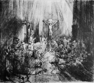 Rembrandt, Les trois croix, 1653, gravure quatrième état, pointe sèche et burin, Bibliothèque nationale de France