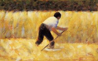 Seurat Georges, Le faucheur, 1881, huile sur bois, 16,5 x 25,1 cm, Metropolitan Museum of Art, New York