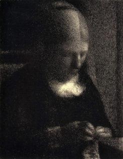 Seurat Georges, Madame Seurat (la mère de l'artiste), 1882, crayon Conté sur papier, 30 x 24 cm, Getty Museum, Los Angeles