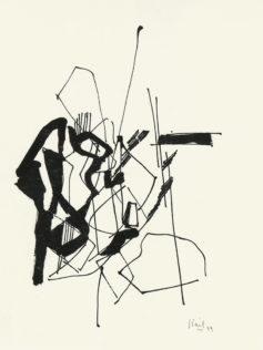 Nicolas de Staël, Encre de chine sur papier, 1949, 32,6 x 25,3 cm, Collection particulière