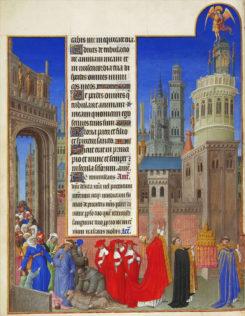 Paul, Jean et Herman de Limbourg, Les Très Riches Heures du duc de Berry, vers 1410-1416, livre d'heures commandé par le duc Jean Ier de Berry et actuellement conservé au musée Condé à Chantilly