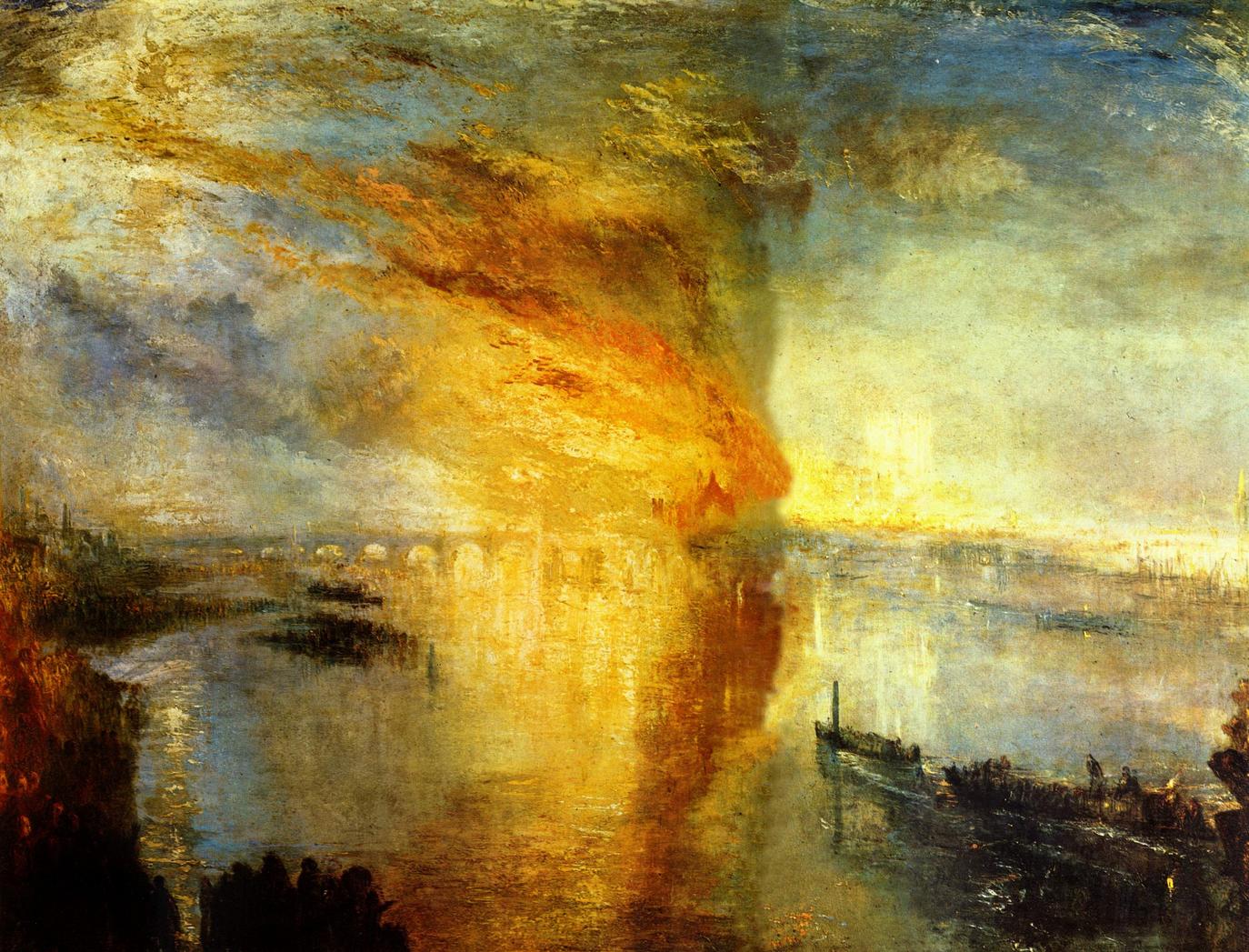 Turner Joseph Mallord William, L'incendie de la Chambre des Lords et des Communes, 1835, huile sur toile, 92,7 × 123 cm, Cleveland Museum of Art