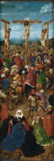 Jan Van Eyck, La Crucifixion, panneau de gauche du diptyque de la Crucifixion et du Jugement dernier, vers 1425–40, huile sur toile, transférée depuis un panneau de bois, 56,5 x 19,7 cm, New-York, Metropolitan Museum of Art, New York