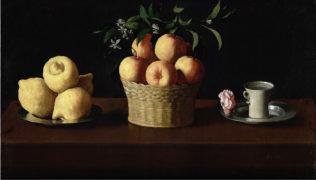 Francisco de Zurbarán, Plat avec citrons, panier avec oranges et tasse avec rose, Vers 1633, huile sur toile, 60 × 107 cm, Norton Simon Foundation, Los Angeles