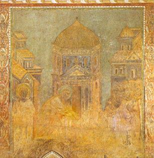 Cimabue, Saint Pierre guérissant le boiteux, Église supérieure - transept droit - Histoire de saint Pierre et saint Paul, entre 1278 et 1292, Basilique Saint-François à Assise, en Ombrie