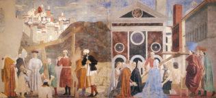 Piero della Francesca, La légende de la Vraie Croix - l'invention et le miracle de la vraie croix, 1452-1459, fresque, 356 x 747 cm, Arezzo, San Francesco