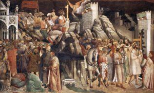 Gaddi Agnolo, Scènes sur le mur sud, L'empereur Héraclius décapite Chosroës et entre dans Jérusalem avec la Vraie Croix, 1385-87, fresque, Abside ou Chapelle majeure, Santa Croce, Florence