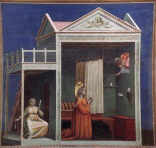 Giotto di Bondone, Annonciation à Sainte Anne, 1304-06, fresque, 200 x 185 cm, chapelle Scrovegni (Chapelle de l'Arena) à Padoue