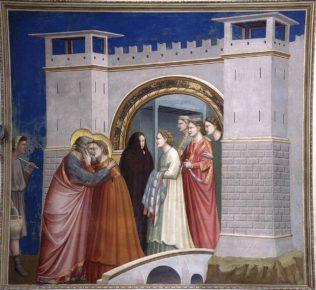 Giotto di Bondone, Rencontre à la Porte Dorée, 1303-1306, fresque, 200 x 185 cm, chapelle Scrovegni (Chapelle de l'Arena) à Padoue