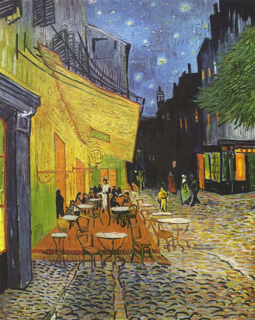 Van Gogh Vincent, Terrasse du café le soir, 1888, huile sur toile, 80,7 × 65,3 cm, Musée Kröller-Müller, Otterlo (Pays-Bas)