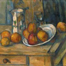 Cézanne Paul, Nature morte avec cruche de lait et fruits, huile sur papier marouflée sur toile, 20,5 x 15 cm, National Gallery of Art Washington