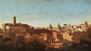Corot Jean-Baptiste, Rome, le Forum vu des jardins Farnèse, 1826, huile sur papier collé sur toile. 28 x 50 cm, musée du Louvre, Paris